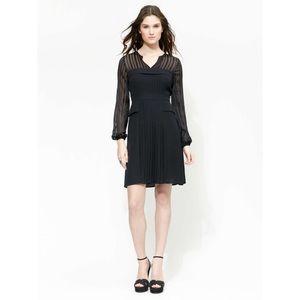 BCBGMAXAZRIA Joni Long Sleeve LBD Pleat Dress